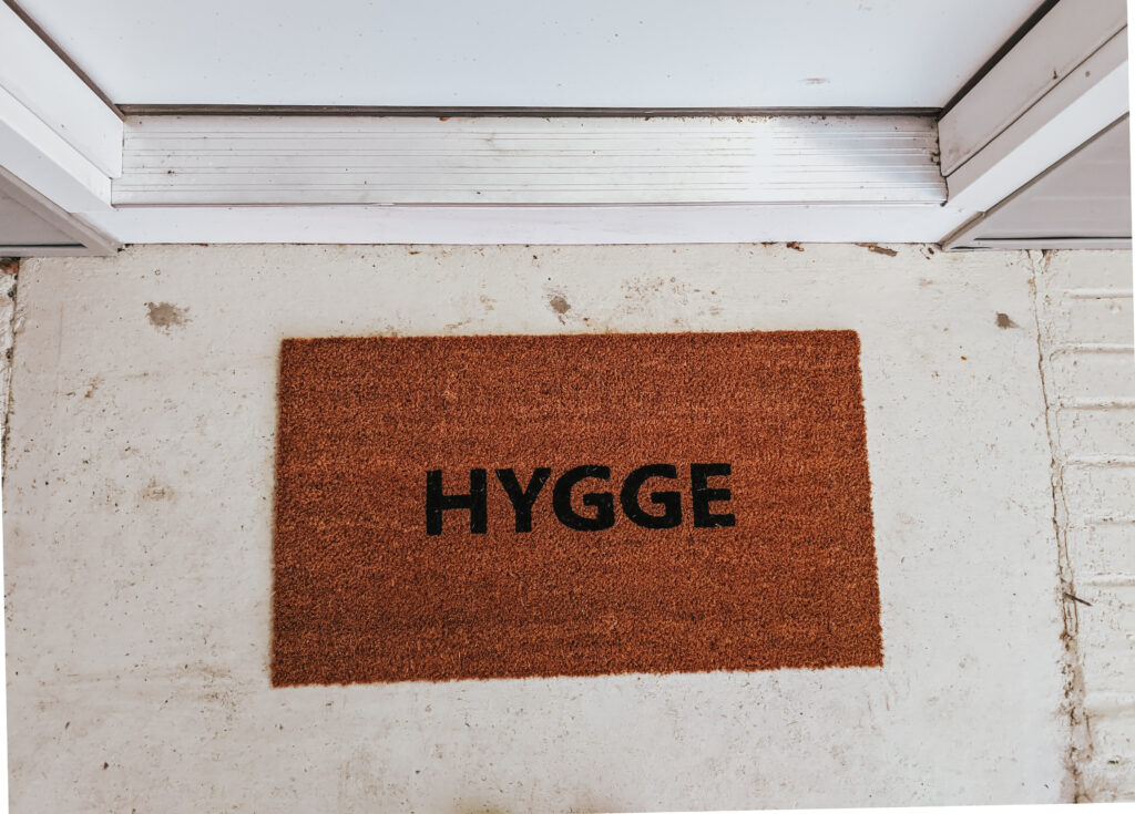 Hygge Ikea mat in front of Hygge home