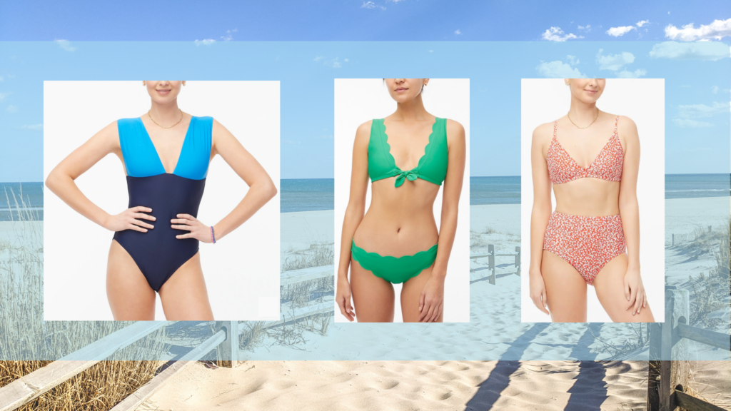 LBI Region beach in the background. The foreground has three photos of swimsuits from J. Crew Factory. The first is a color-blocked one-piece swimsuit with a medium blue top over the shoulders and a navy blue lower half. The second is a green scalloped bikini with a small tie on the top. The third is a red bikini with a small white floral pattern throughout.