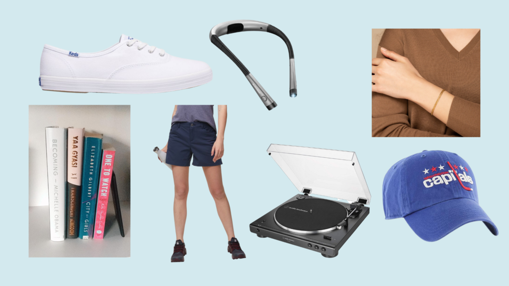 """Collage of images representing items on my 25th birthday wishlist including: White Keds Champion, LED Reading Light, Double Curb Chain Bracelet, Books, Patagonia Quandary 5"""" Short, AT Wireless Turntable, and Washington Capitals Hat"""
